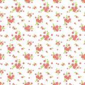 Floral pattern in white pink and green colors Seamless background with cute small flowers Vector illustration