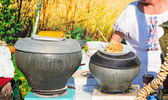 .Traditional Russian dishes on the outdoor celebration.