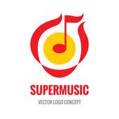 Super Music - vector logo concept illustration Music note logo Abstract music logo Melody logo Audio logo Vector logo template Design element