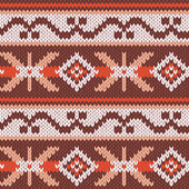 Abstract Ornamental Seamless Vector Pattern as a stylish Fabric Knitted ethnic texture in warm colors
