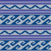 Abstract Ornamental Seamless Vector Pattern as a stylish Fabric Knitted ethnic texture in blue violet and light grey colors
