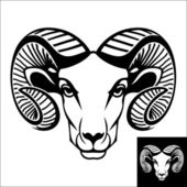 This is a ram head logo or icon in black and white. This is vector illustration ideal for a mascot and T-shirt graphic. Inversion version included.