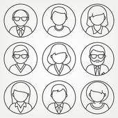Set di icone di persone dellufficio in stile linea mono