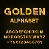 Gold effect beveled letters numbers and punctuation marks on a dark background Stock vector font for your headlines posters etc