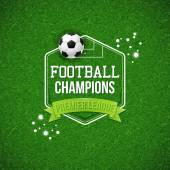 Soccer football poster Soccer football field background with typography design and soccer  ball Vector illustration