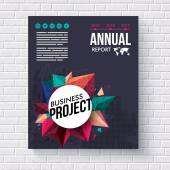 Annual Report design template for Mining Geology or Gemology themed businesses with multicolored crystal points around a circular frame and editabe text on a black background vector illustration