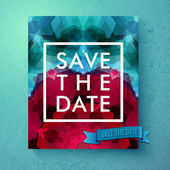 Bold simple Save The Date wedding template with simple classic white text in a frame over a geometric abstract background with blended hexagons in pink and blue vector illustration