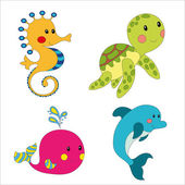 Set of cartoon sea creatures isolated on white illustration
