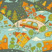 Seamless pattern with colored houses, car and trees. Vector illustration