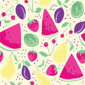 Seamless pattern with summer fruits and berries  in cartoon style Watermelon slices background Hand drawn design for fabric wrapping paper greeting cards or invitation Vector illustration