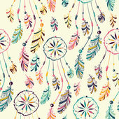 Seamless pattern with native Indian-American dream catcher