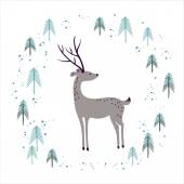 Deer in winter pine forest isolated on white Hand drawn design for Christmas and New Year greeting cards fabric wrapping paper invitation stationery
