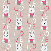 Rabbit with heart seamless pattern Hand drawn design for Valentines Day and Birthday greeting cards fabric wrapping paper invitation stationery