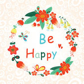 Be Happy Floral card