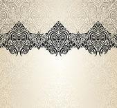 Valentine fashionable vintage background design in ecru & gold with heart symbols