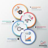 Modern infographics process template with 4 paper circles Vector Can be used for web design and  workflow layout