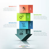 Modern infographics options banner with 3d colorful arrow made of 4 colorful blocks Vector Can be used for web design and  workflow layout