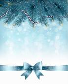 Christmas background with  branches of tree and bow with ribbons Vector