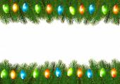 Christmas background with colorful garland and fir branches Vector illustration