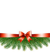 Background with christmas tree branches and a red ribbon Vector