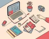 Pohled shora náčrt ruky nakreslené úřadu nebo fome pracoviště OSVČ s byznys objekty a předměty ležící na stole notebook, digitální tablet, mobilní telefon, dokumenty