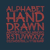 Chalk sketched striped alphabet abc vector font Type letters numbers characters and punctuation marks