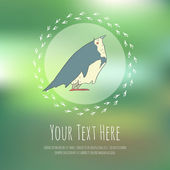 Illustration of hand drawn retro bird Cute vector cartoon The concept of the character on blurred background Greeteng or invitation card with place for your text