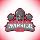Vector template of label of head of warrior isolated on the white background Symbol of extreme sport