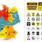 Постер, плакат: Map of Germany with nuclear power plants