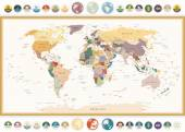 Political World Map with flat icons and globes.Vintage colors