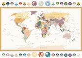 Politická mapa světa s ploché ikony a glóby. Vinobraní barvy