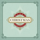 Vector luxury elegant Christmas and Happy New Year vector frame and emblem template