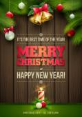 Vector Christmas Messages and objects on wrinkled paper background Elements are layered separately in vector file