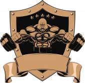 Vector illustration of a strong gorilla with a barbell