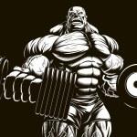 Постер, плакат: Bodybuilder with dumbbell