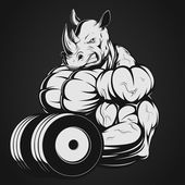 Vector illustration, strong rhino doing exercise with dumbbells for biceps