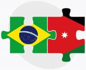 Brazil and Jordan Flags in puzzle isolated on white backgroun