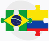 Brazil and Ecuador Flags in puzzle isolated on white background