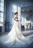 Fotka krásná bruneta nevěsta v luxusních svatebních šatech v elegantním interiéru drahé