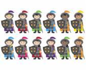 Vektorové kolekce etnicky různorodých rytířů