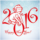 Funny monkey on blue background and Happy new year 2016 Chinese symbol vector monkey 2016 year illustration image design Greeting card