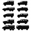 Постер, плакат: Combat military cars silhouettes set