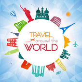 Vector concept of a travel background with world famus landmarks and polygon texture background