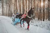 Santa Claus sledge with children 1465.