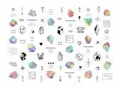 Sada barevných krystalů v styl mnohoúhelníku s geometrickými tvary