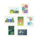 Collection of 9 nature postage stamp designs