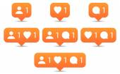 Like follow comment icons in flat style Orange notification tooltip with heart user speech bubble counter and shadow on white background Set 02 Vector illustration web design element 8 eps
