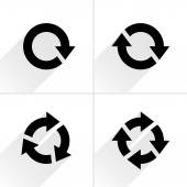 4 arrow icon refresh rotation reset repeat reload sign set  Black pictogram with gray long shadow on white background Simple plain solid flat style Vector illustration web design 8 eps