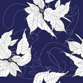 Seamless pattern with black and white poinsettia Vector illustration