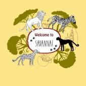Background with savanna animals Vector Illustration
